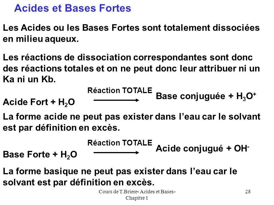 Cours de T.Briere- Acides et Bases- Chapitre 1 27 Force des bases En solution aqueuse, la force dune base est liée à la facilité avec laquelle elle fi