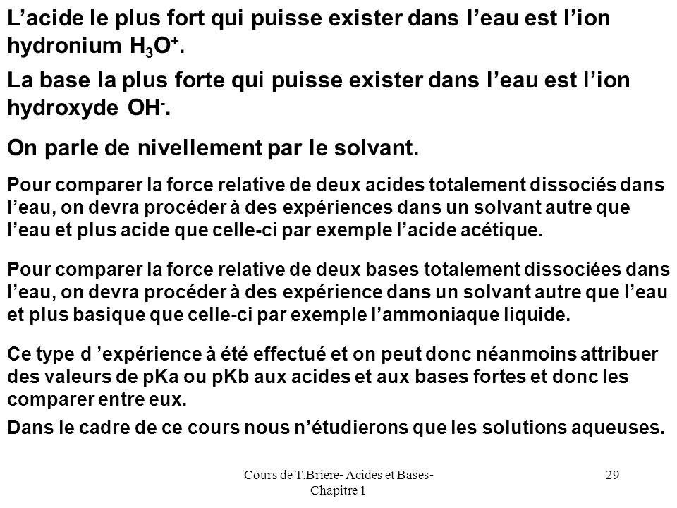 Cours de T.Briere- Acides et Bases- Chapitre 1 28 Acides et Bases Fortes Les Acides ou les Bases Fortes sont totalement dissociées en milieu aqueux. L