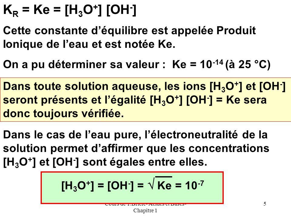Cours de T.Briere- Acides et Bases- Chapitre 1 4 La véritable réaction implique donc deux molécules deau et sécrit : 2 H 2 O = H 3 O + + OH - Comme po