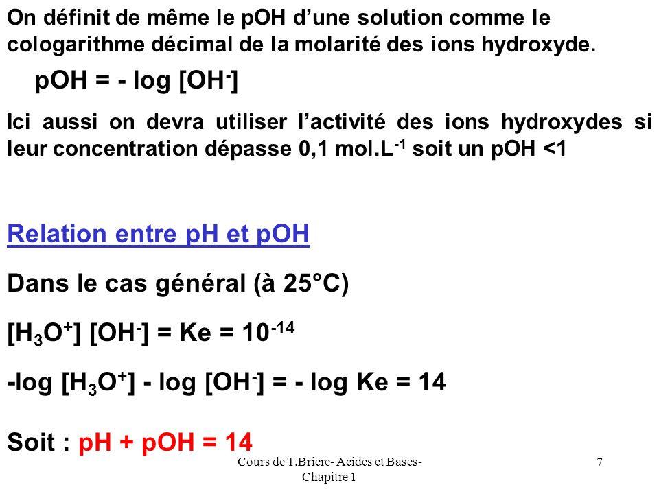 Cours de T.Briere- Acides et Bases- Chapitre 1 6 On définit le pH (potentiel Hydrogène) dune solution comme le cologarithme décimal de lactivité des i