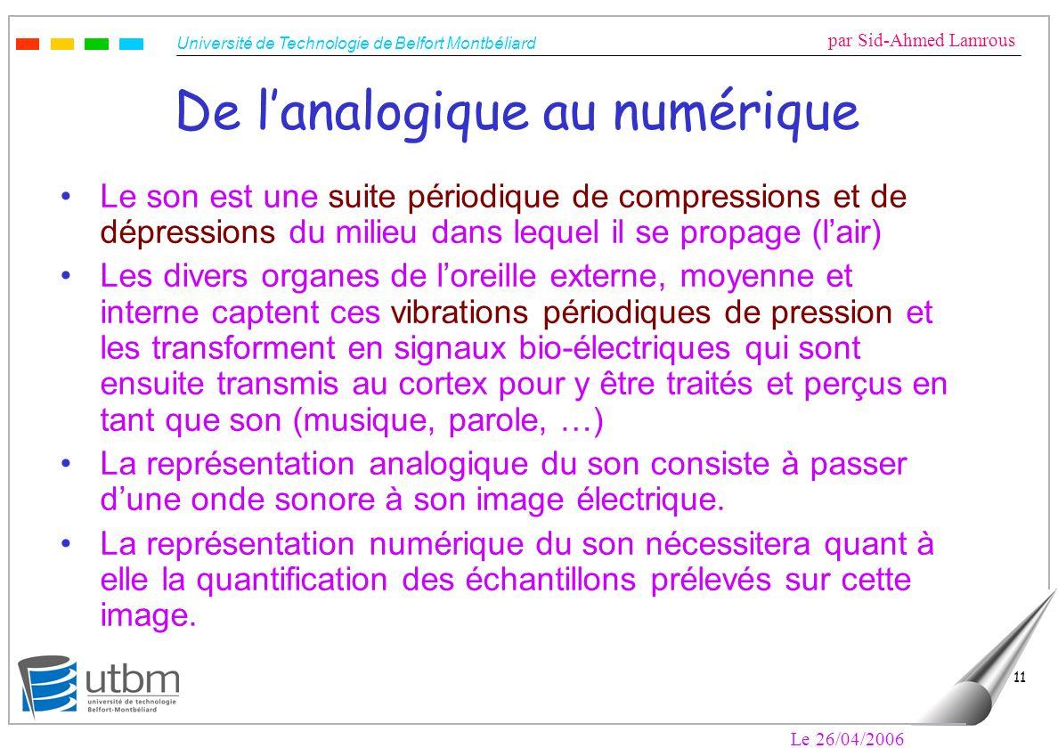 Université de Technologie de Belfort Montbéliard par Sid-Ahmed Lamrous Le 26/04/2006 11 De lanalogique au numérique Le son est une suite périodique de