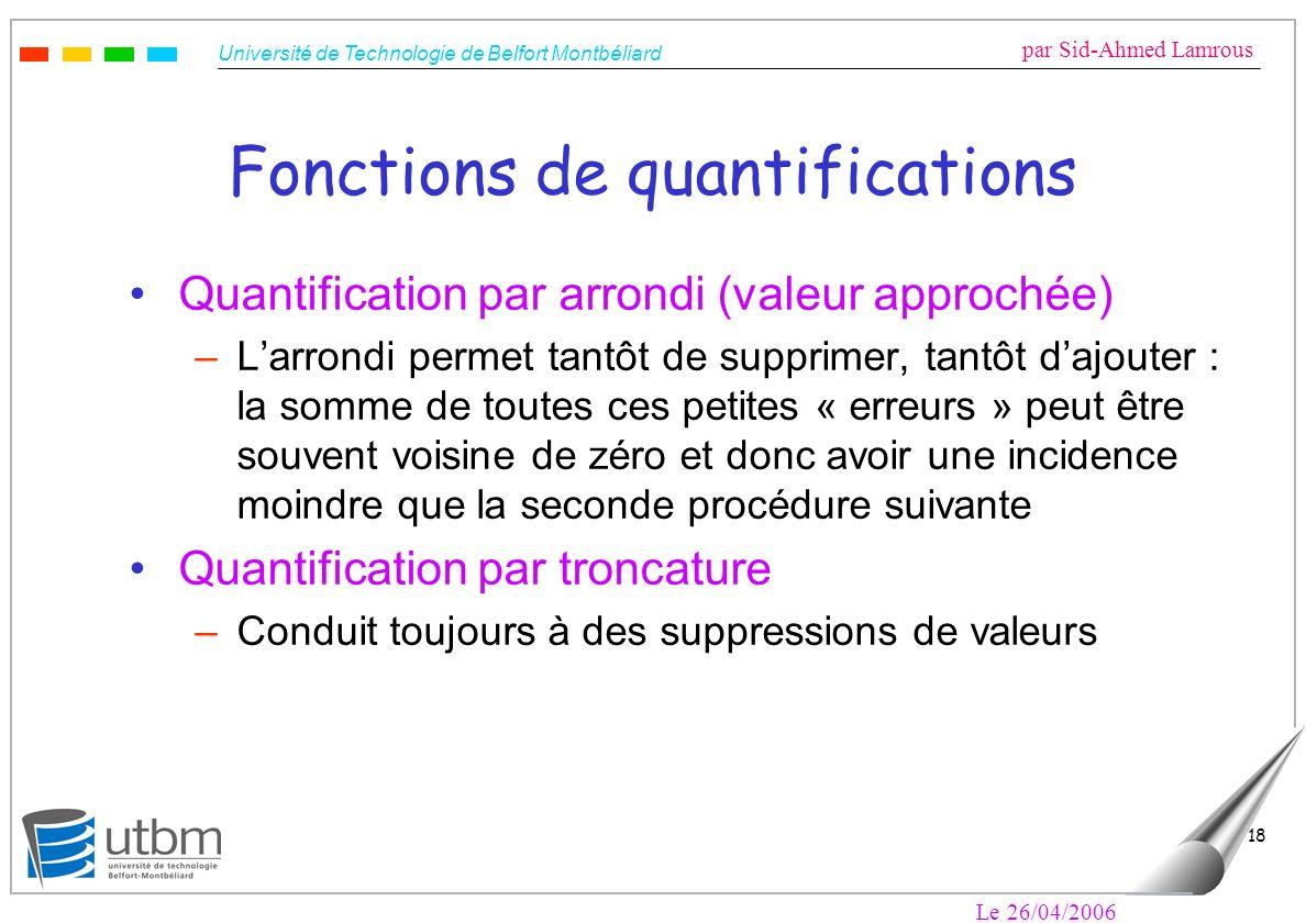 Université de Technologie de Belfort Montbéliard par Sid-Ahmed Lamrous Le 26/04/2006 18 Fonctions de quantifications Quantification par arrondi (valeu