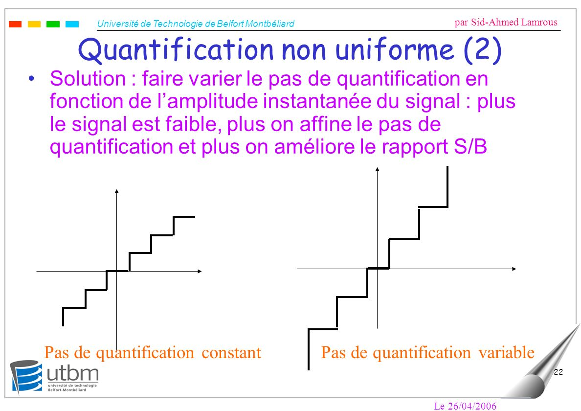 Université de Technologie de Belfort Montbéliard par Sid-Ahmed Lamrous Le 26/04/2006 22 Quantification non uniforme (2) Solution : faire varier le pas