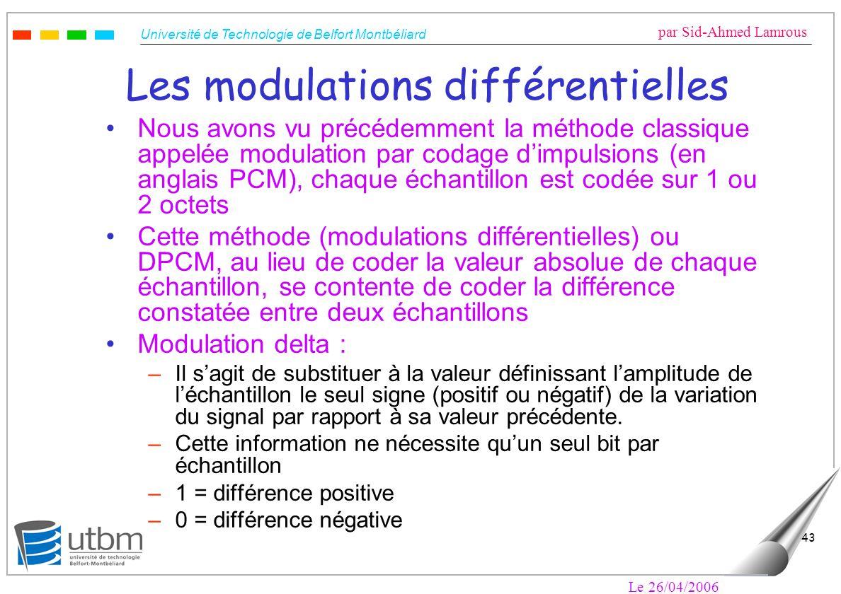Université de Technologie de Belfort Montbéliard par Sid-Ahmed Lamrous Le 26/04/2006 43 Les modulations différentielles Nous avons vu précédemment la