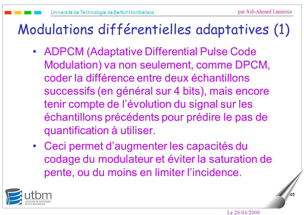 Université de Technologie de Belfort Montbéliard par Sid-Ahmed Lamrous Le 26/04/2006 45 Modulations différentielles adaptatives (1) ADPCM (Adaptative