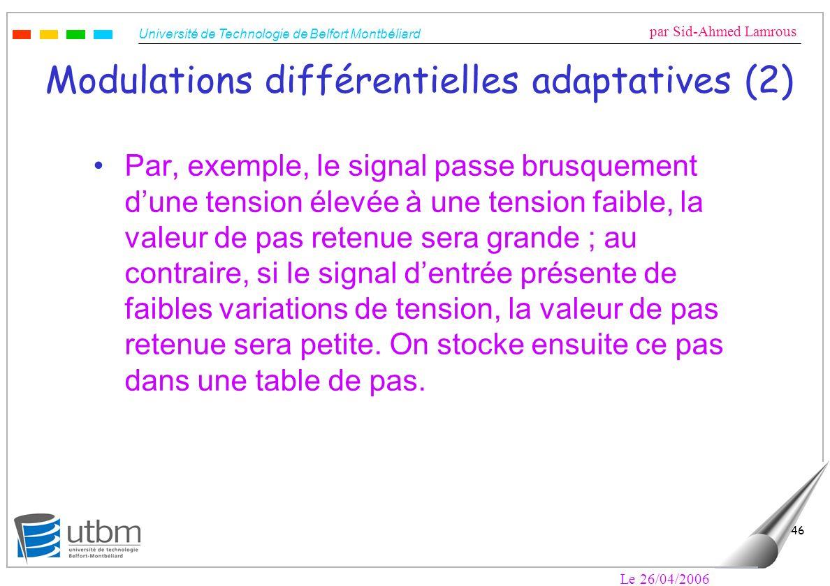 Université de Technologie de Belfort Montbéliard par Sid-Ahmed Lamrous Le 26/04/2006 46 Modulations différentielles adaptatives (2) Par, exemple, le s