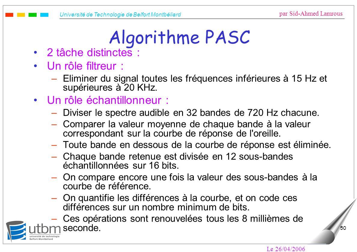 Université de Technologie de Belfort Montbéliard par Sid-Ahmed Lamrous Le 26/04/2006 50 Algorithme PASC 2 tâche distinctes : Un rôle filtreur : –Elimi