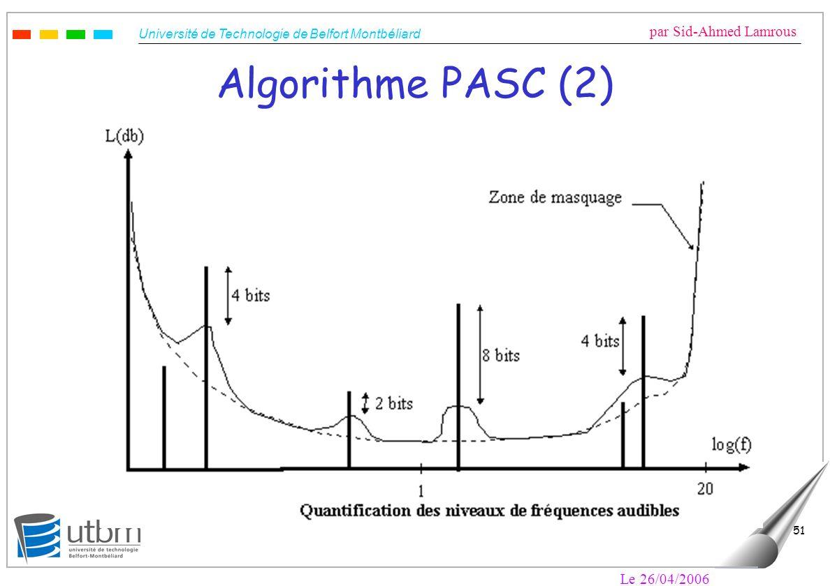 Université de Technologie de Belfort Montbéliard par Sid-Ahmed Lamrous Le 26/04/2006 51 Algorithme PASC (2)