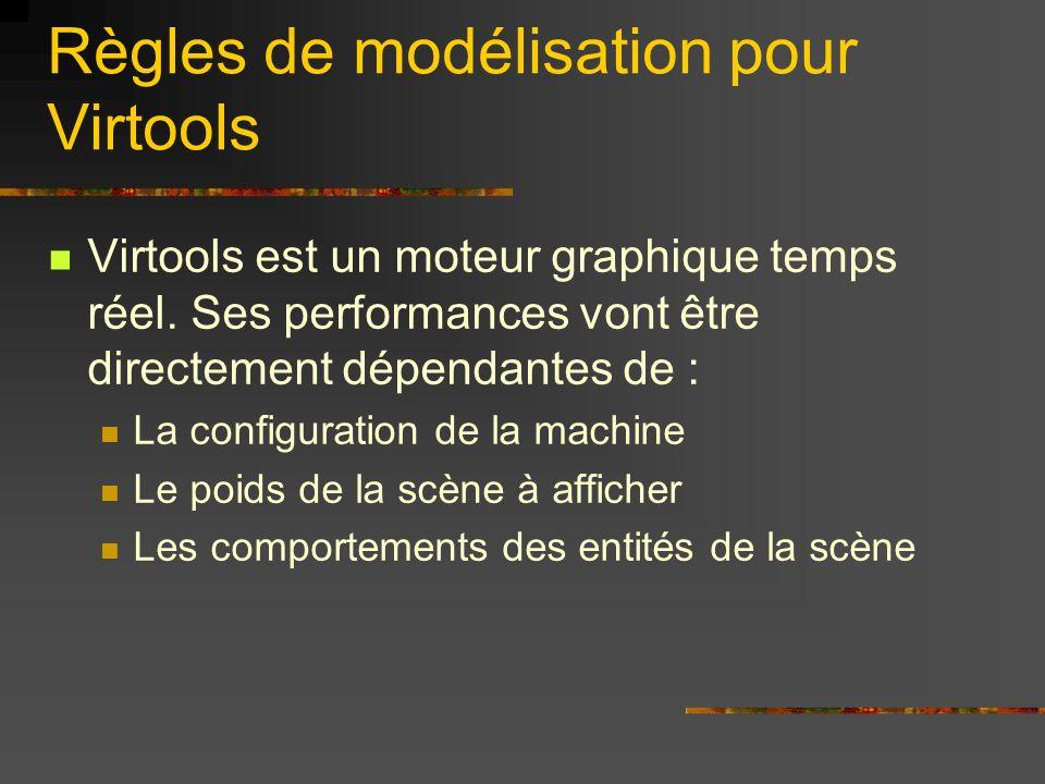 Règles de modélisation pour Virtools Virtools est un moteur graphique temps réel. Ses performances vont être directement dépendantes de : La configura