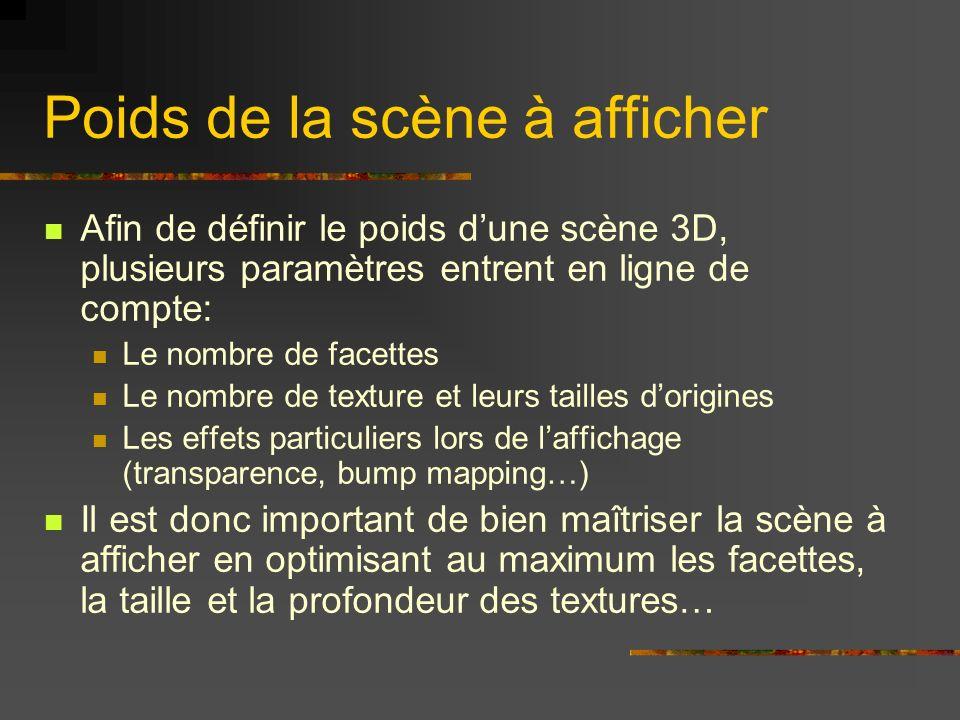 Poids de la scène à afficher Afin de définir le poids dune scène 3D, plusieurs paramètres entrent en ligne de compte: Le nombre de facettes Le nombre