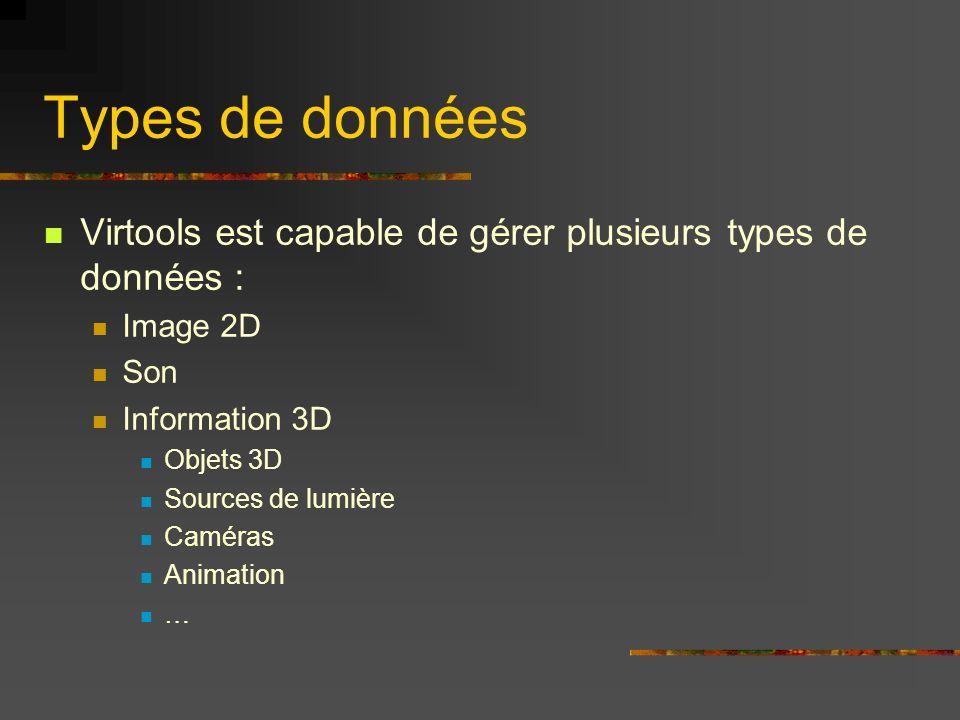Types de données Virtools est capable de gérer plusieurs types de données : Image 2D Son Information 3D Objets 3D Sources de lumière Caméras Animation