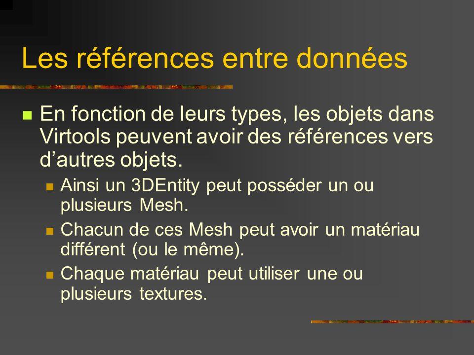 Les références entre données En fonction de leurs types, les objets dans Virtools peuvent avoir des références vers dautres objets. Ainsi un 3DEntity