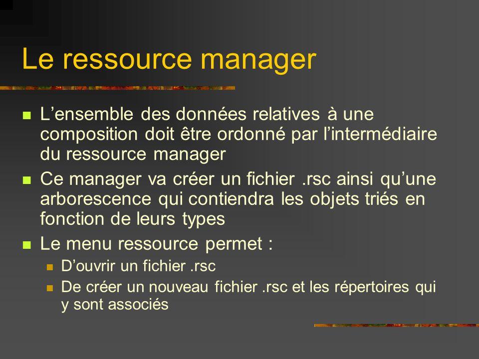 Le ressource manager Lensemble des données relatives à une composition doit être ordonné par lintermédiaire du ressource manager Ce manager va créer u
