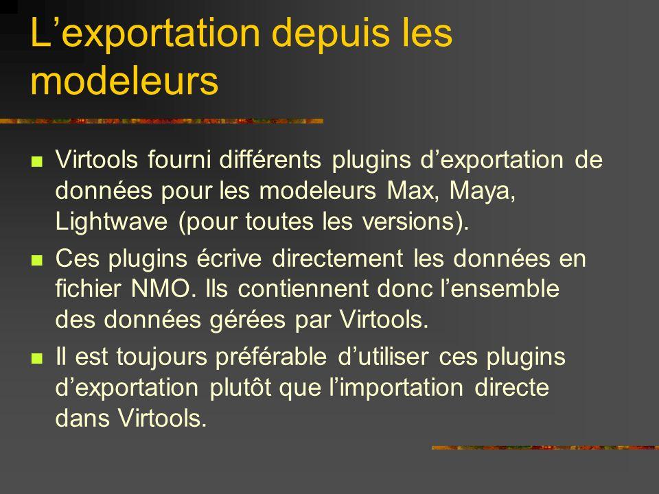 Lexportation depuis les modeleurs Virtools fourni différents plugins dexportation de données pour les modeleurs Max, Maya, Lightwave (pour toutes les