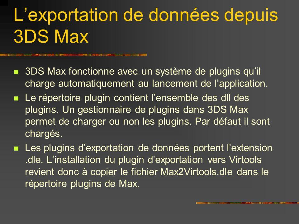 Le panneau dexportation vers Virtools de 3DS Max Champs importants : Type dobjet dans Virtools Nom du personnage et animation Option sur les textures Changement déchelle Conversion des groupes Conversion des animations