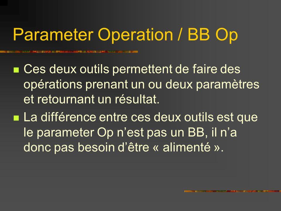 Parameter Operation / BB Op Ces deux outils permettent de faire des opérations prenant un ou deux paramètres et retournant un résultat. La différence