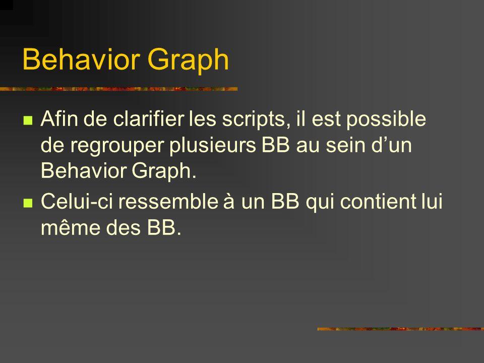 Behavior Graph Afin de clarifier les scripts, il est possible de regrouper plusieurs BB au sein dun Behavior Graph. Celui-ci ressemble à un BB qui con