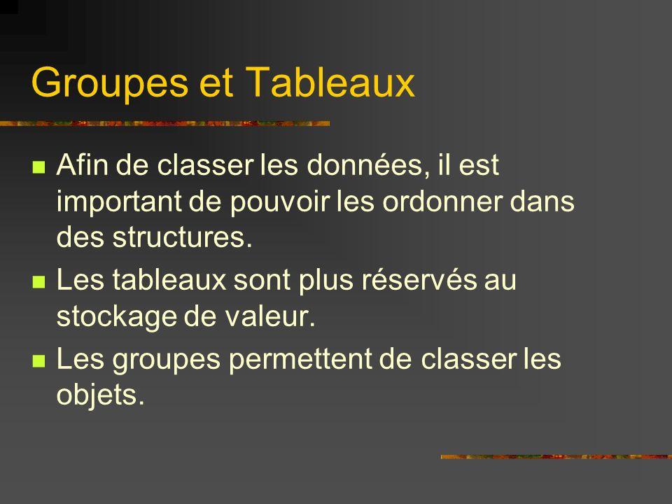 Groupes et Tableaux Afin de classer les données, il est important de pouvoir les ordonner dans des structures. Les tableaux sont plus réservés au stoc