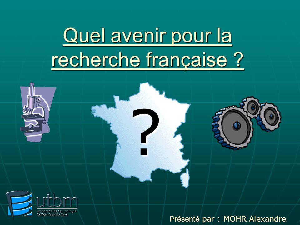 Quel avenir pour la recherche française ? Présenté par : MOHR Alexandre ?