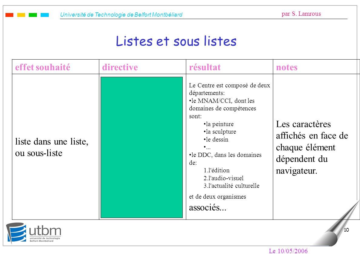 Université de Technologie de Belfort Montbéliard par S. Lamrous Le 10/05/2006 10 Listes et sous listes effet souhaitédirectiverésultatnotes liste dans