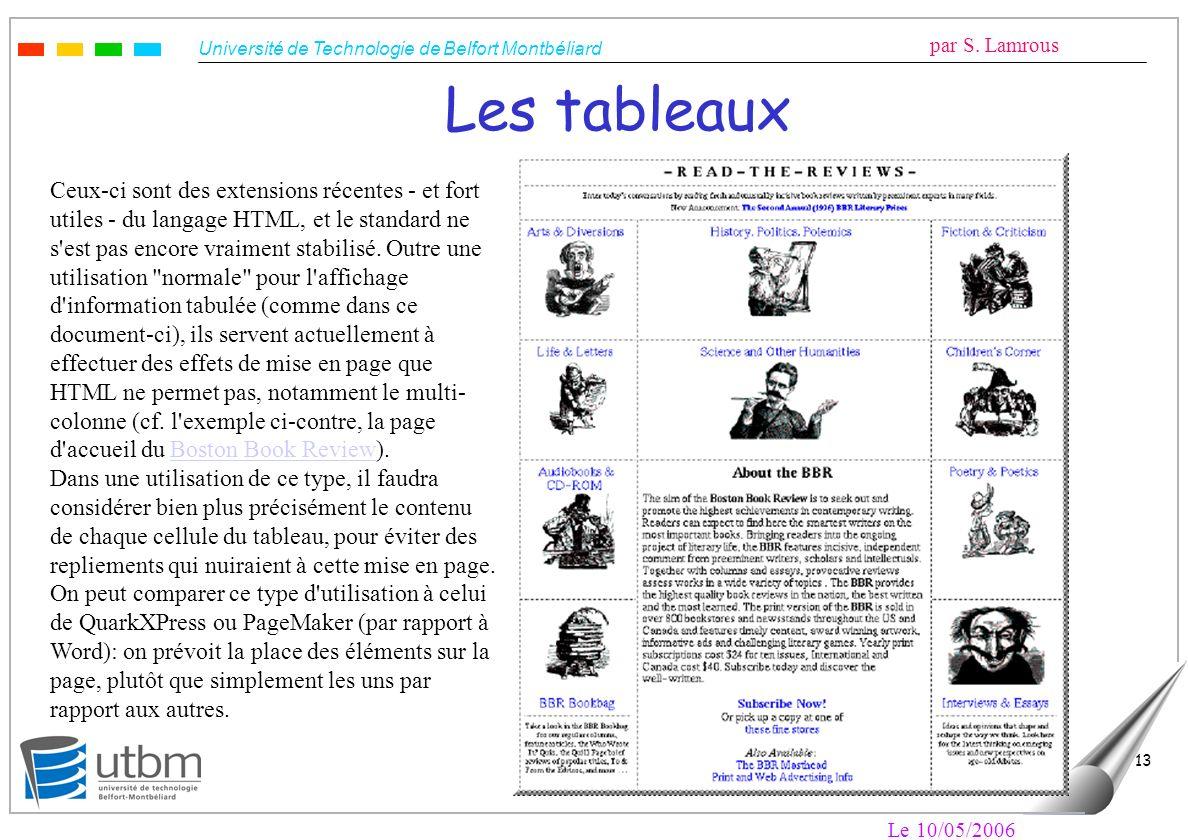 Université de Technologie de Belfort Montbéliard par S. Lamrous Le 10/05/2006 13 Les tableaux Ceux-ci sont des extensions récentes - et fort utiles -
