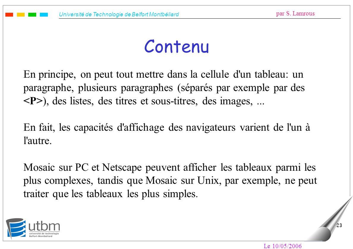 Université de Technologie de Belfort Montbéliard par S. Lamrous Le 10/05/2006 23 Contenu En principe, on peut tout mettre dans la cellule d'un tableau