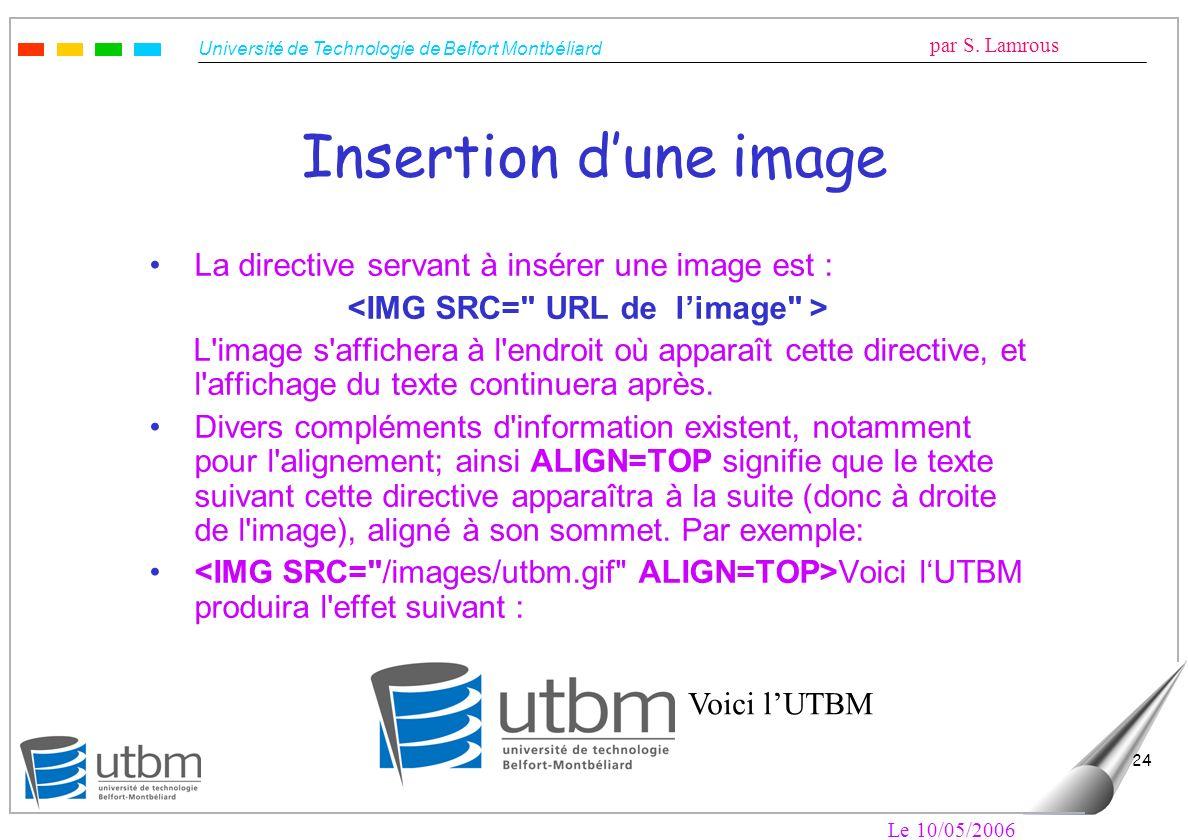 Université de Technologie de Belfort Montbéliard par S. Lamrous Le 10/05/2006 24 Insertion dune image La directive servant à insérer une image est : L
