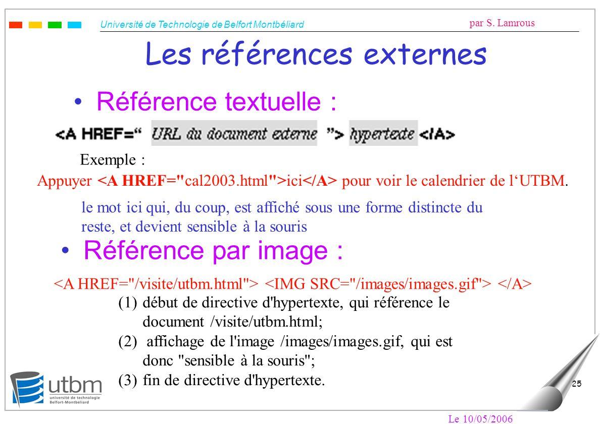 Université de Technologie de Belfort Montbéliard par S. Lamrous Le 10/05/2006 25 Les références externes Référence textuelle : Exemple : Appuyer ici p