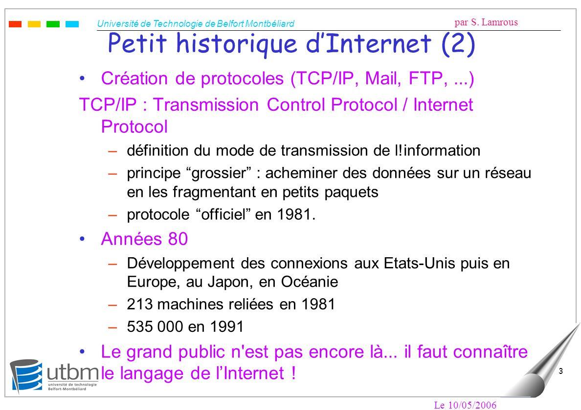 Université de Technologie de Belfort Montbéliard par S. Lamrous Le 10/05/2006 3 Petit historique dInternet (2) Création de protocoles (TCP/IP, Mail, F