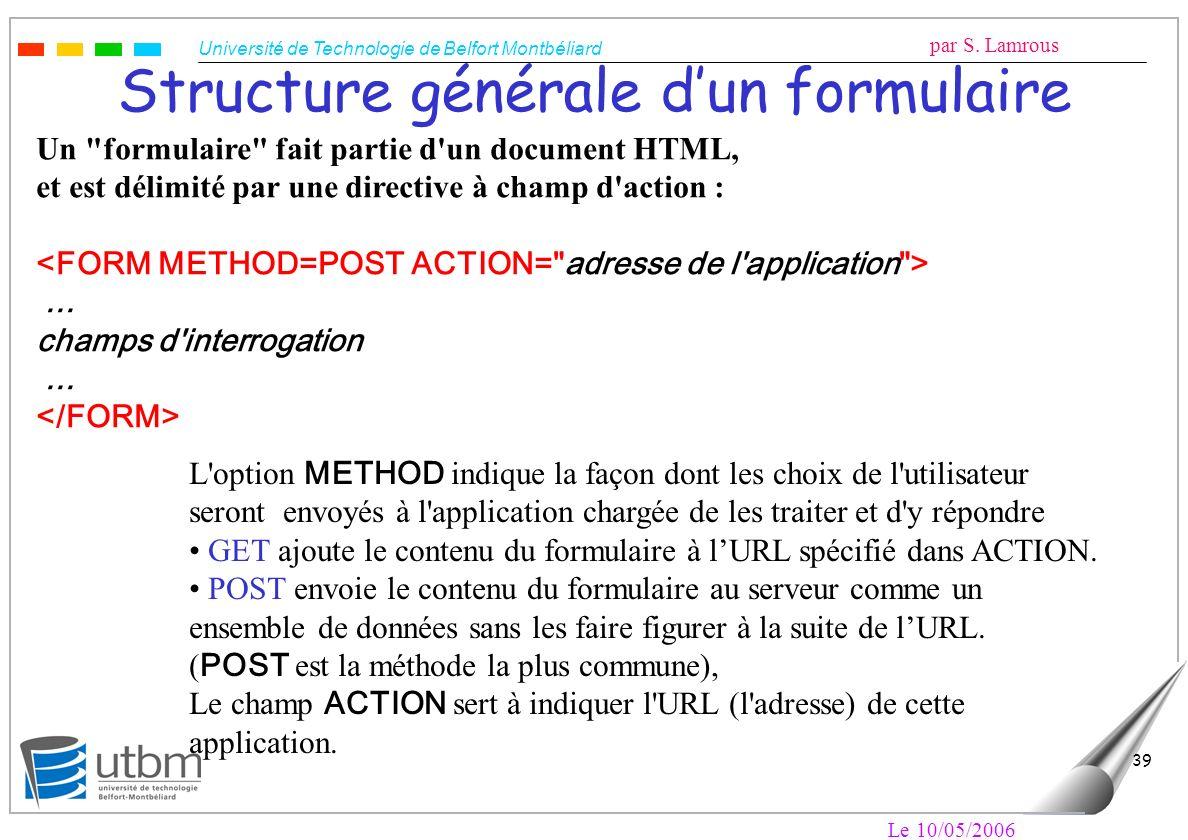 Université de Technologie de Belfort Montbéliard par S. Lamrous Le 10/05/2006 39 Structure générale dun formulaire Un