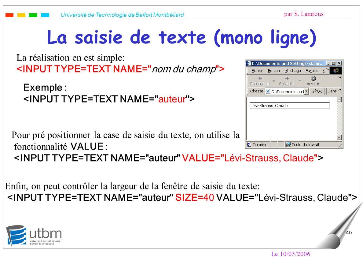 Université de Technologie de Belfort Montbéliard par S. Lamrous Le 10/05/2006 45 La saisie de texte (mono ligne) La réalisation en est simple: Exemple