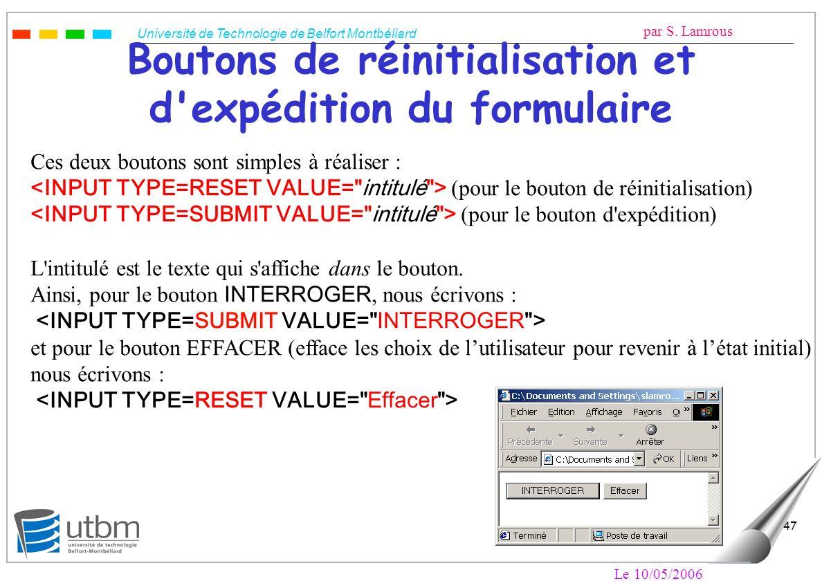Université de Technologie de Belfort Montbéliard par S. Lamrous Le 10/05/2006 47 Boutons de réinitialisation et d'expédition du formulaire Ces deux bo