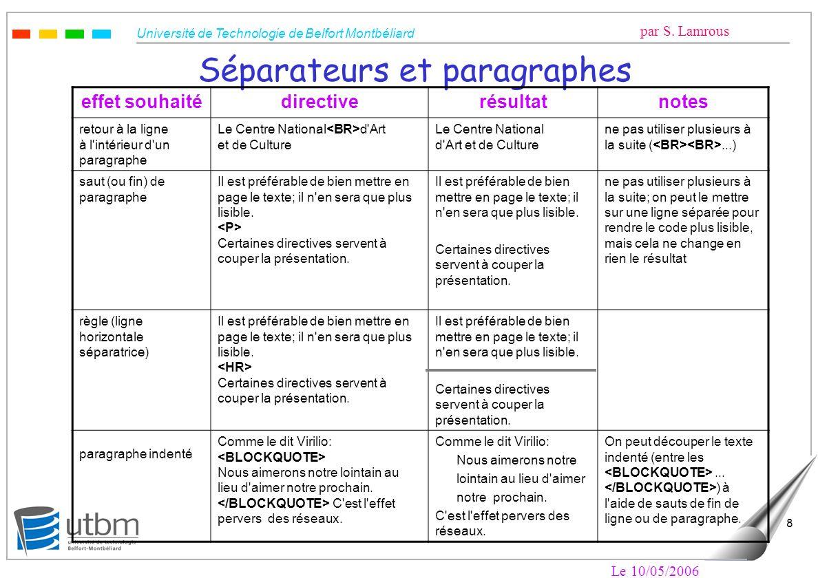 Université de Technologie de Belfort Montbéliard par S. Lamrous Le 10/05/2006 8 Séparateurs et paragraphes effet souhaitédirectiverésultatnotes retour