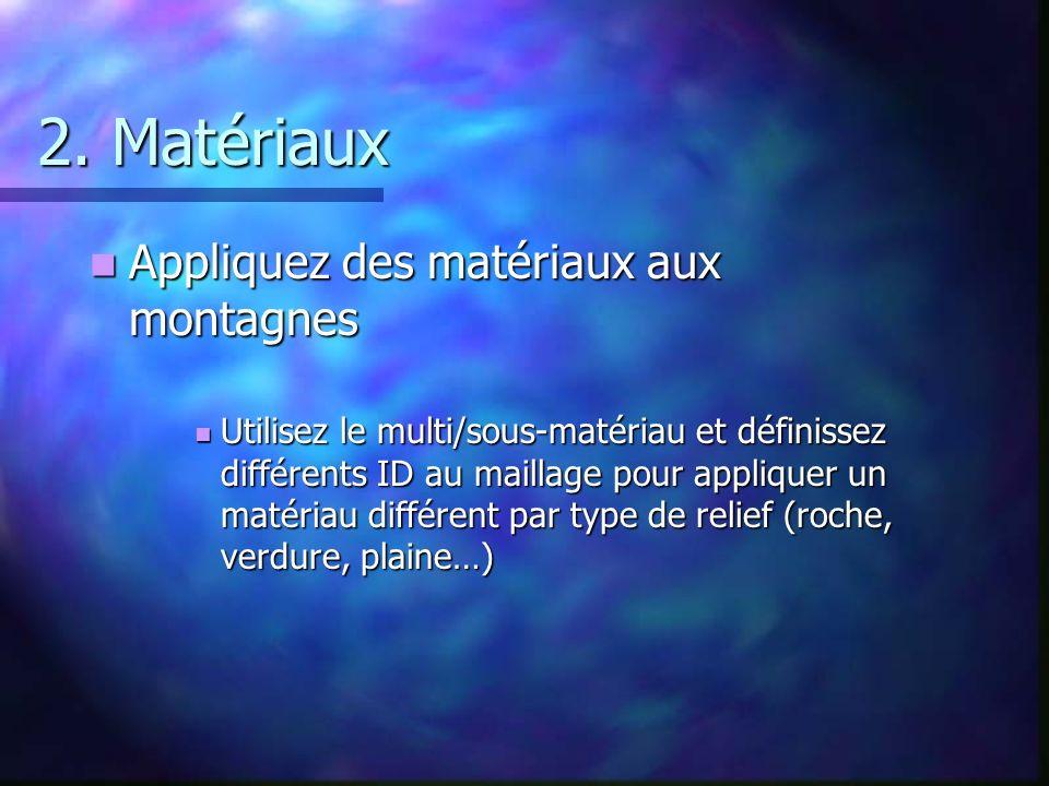 2. Matériaux Appliquez des matériaux aux montagnes Appliquez des matériaux aux montagnes Utilisez le multi/sous-matériau et définissez différents ID a