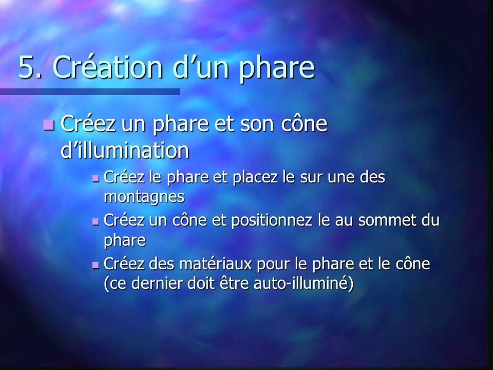 5. Création dun phare Créez un phare et son cône dillumination Créez un phare et son cône dillumination Créez le phare et placez le sur une des montag