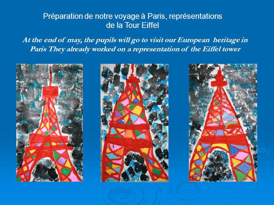 At the end of may, the pupils will go to visit our European heritage in Paris They already worked on a representation of the Eiffel tower Préparation de notre voyage à Paris, représentations de la Tour Eiffel