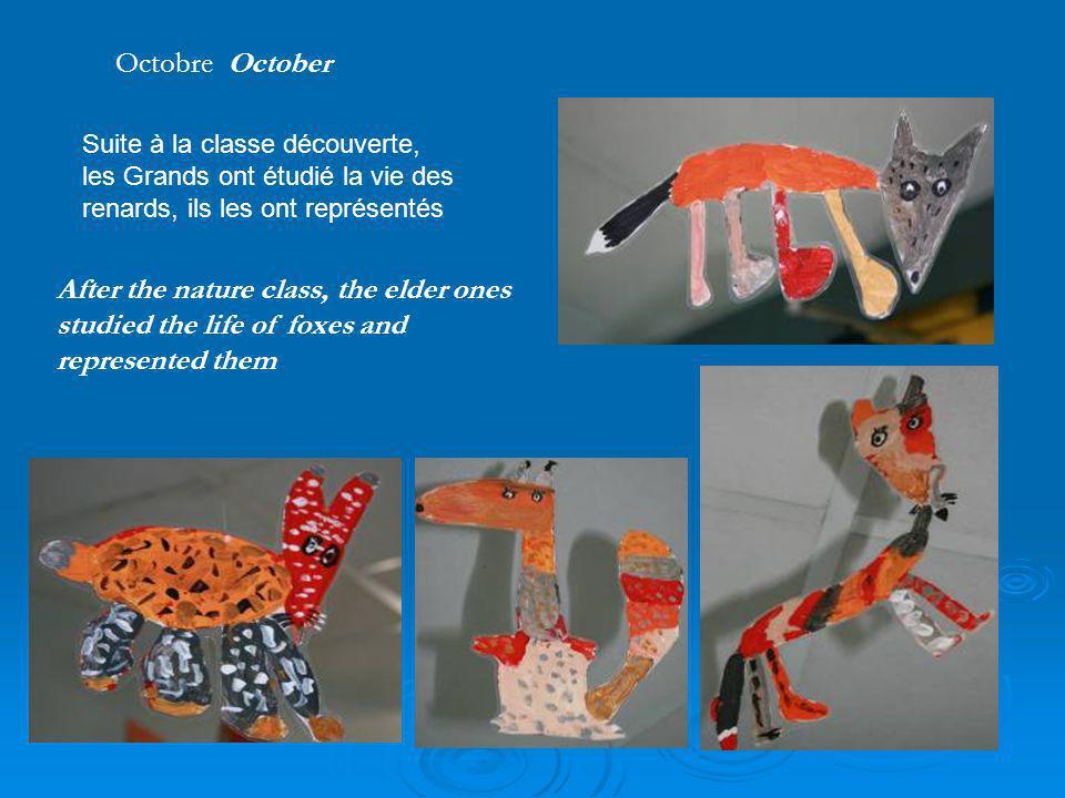 After the nature class, the elder ones studied the life of foxes and represented them Suite à la classe découverte, les Grands ont étudié la vie des r