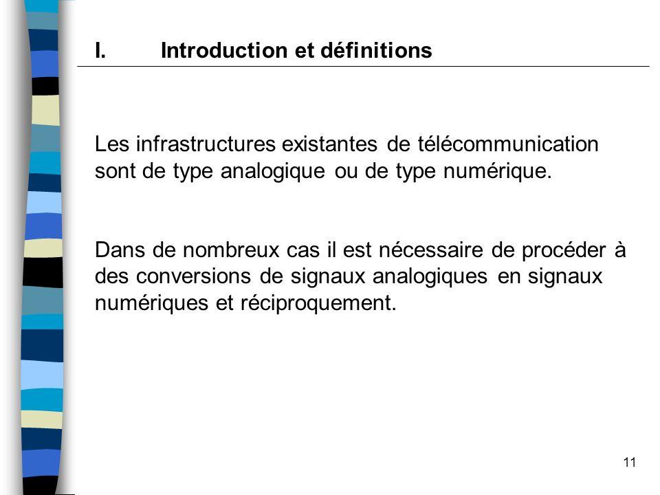 11 I.Introduction et définitions Les infrastructures existantes de télécommunication sont de type analogique ou de type numérique. Dans de nombreux ca