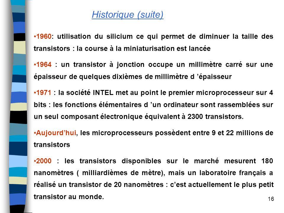 16 1960: utilisation du silicium ce qui permet de diminuer la taille des transistors : la course à la miniaturisation est lancée 1964 : un transistor