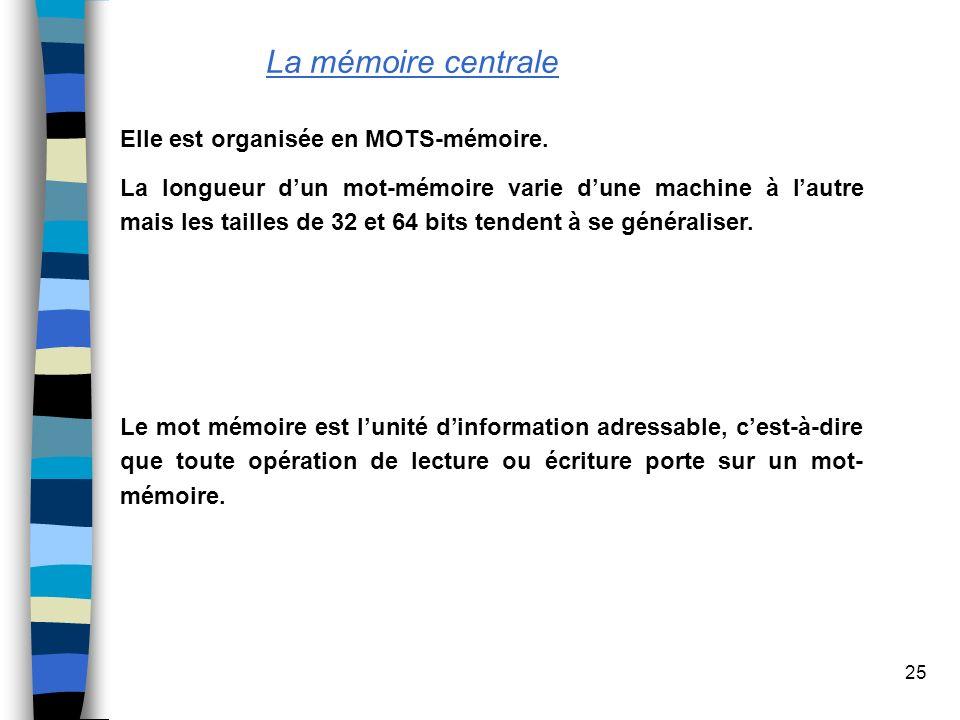 25 La mémoire centrale Elle est organisée en MOTS-mémoire. La longueur dun mot-mémoire varie dune machine à lautre mais les tailles de 32 et 64 bits t