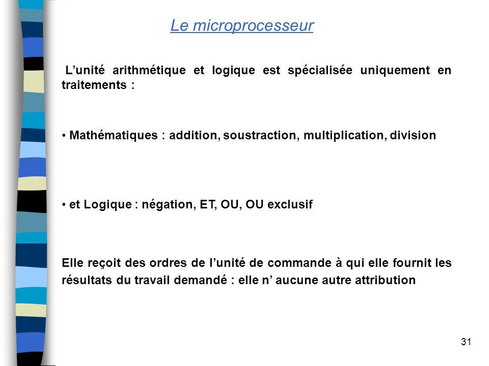 31 Le microprocesseur Lunité arithmétique et logique est spécialisée uniquement en traitements : Mathématiques : addition, soustraction, multiplicatio