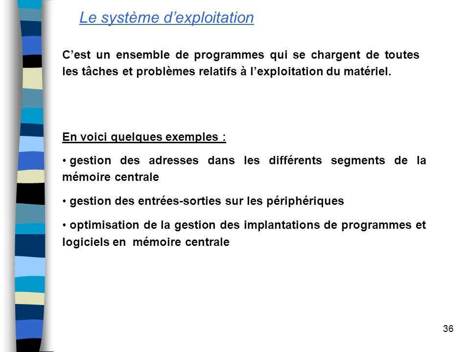 36 Le système dexploitation Cest un ensemble de programmes qui se chargent de toutes les tâches et problèmes relatifs à lexploitation du matériel. ges