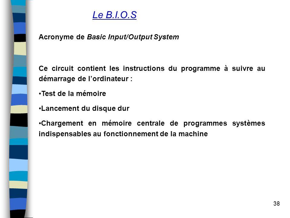 38 Le B.I.O.S Acronyme de Basic Input/Output System Ce circuit contient les instructions du programme à suivre au démarrage de lordinateur : Test de l