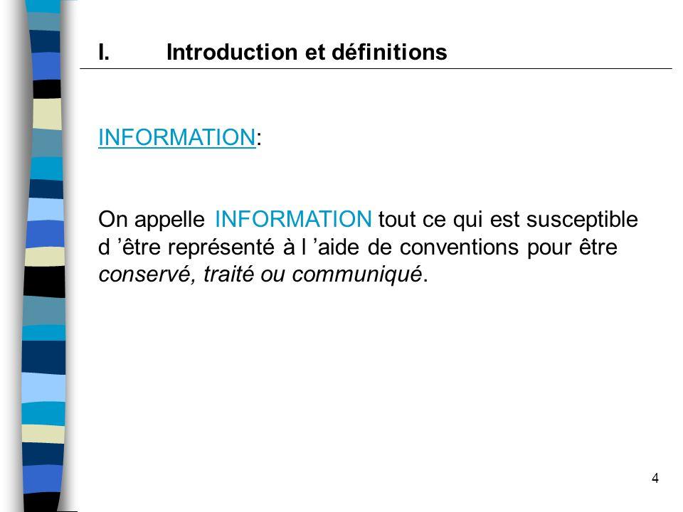 4 INFORMATION: On appelle INFORMATION tout ce qui est susceptible d être représenté à l aide de conventions pour être conservé, traité ou communiqué.