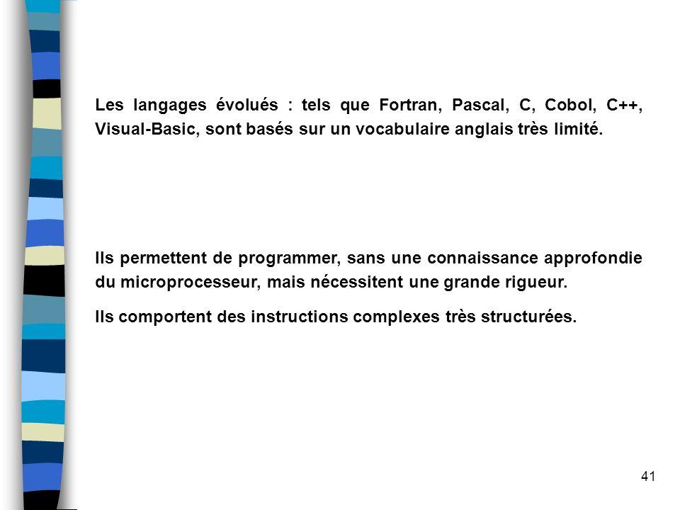 41 Les langages évolués : tels que Fortran, Pascal, C, Cobol, C++, Visual-Basic, sont basés sur un vocabulaire anglais très limité. Ils permettent de