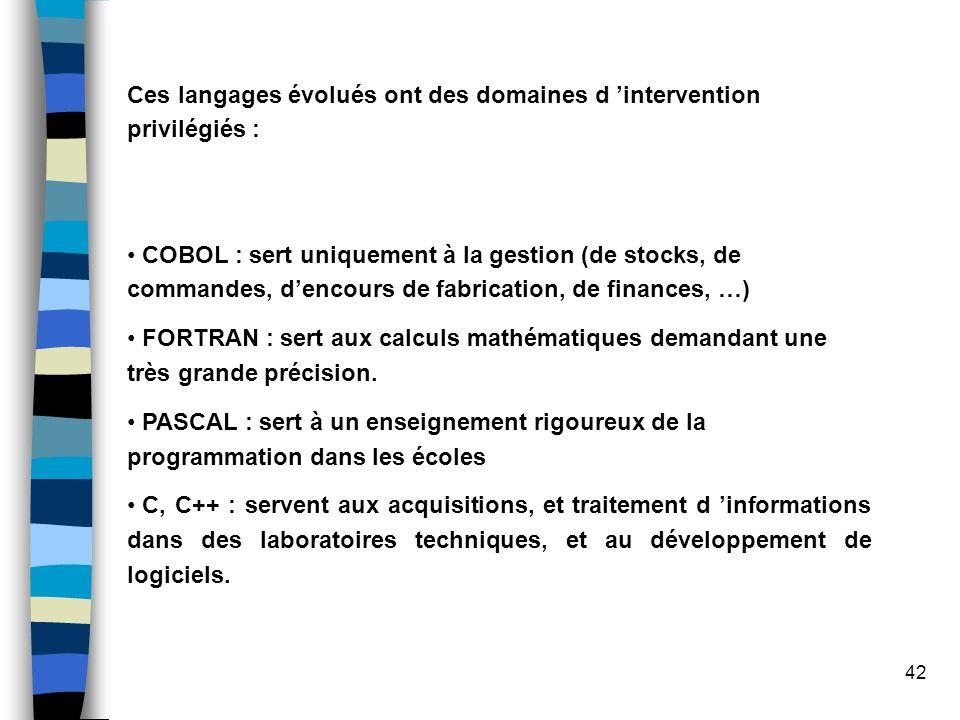 42 Ces langages évolués ont des domaines d intervention privilégiés : COBOL : sert uniquement à la gestion (de stocks, de commandes, dencours de fabri