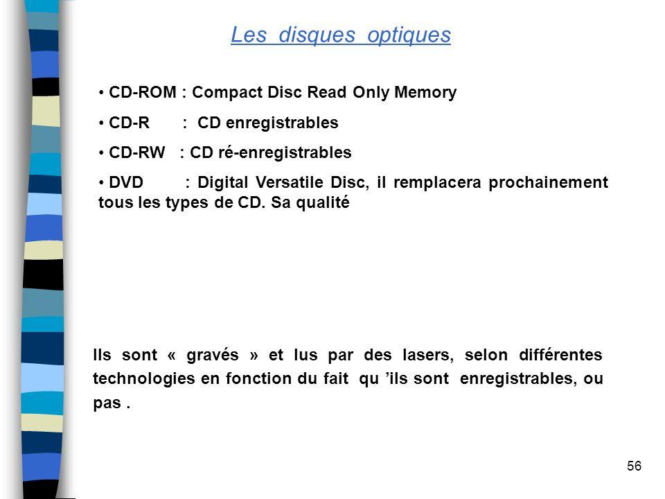 56 Les disques optiques CD-ROM : Compact Disc Read Only Memory CD-R : CD enregistrables CD-RW : CD ré-enregistrables DVD : Digital Versatile Disc, il