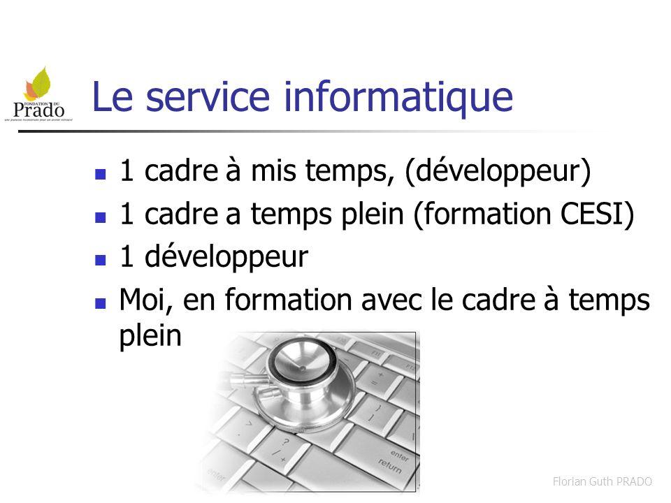 Florian Guth PRADO Le service informatique 1 cadre à mis temps, (développeur) 1 cadre a temps plein (formation CESI) 1 développeur Moi, en formation a