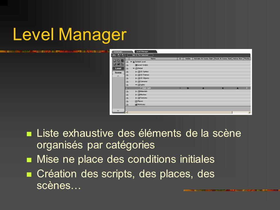 Level Manager Liste exhaustive des éléments de la scène organisés par catégories Mise ne place des conditions initiales Création des scripts, des plac
