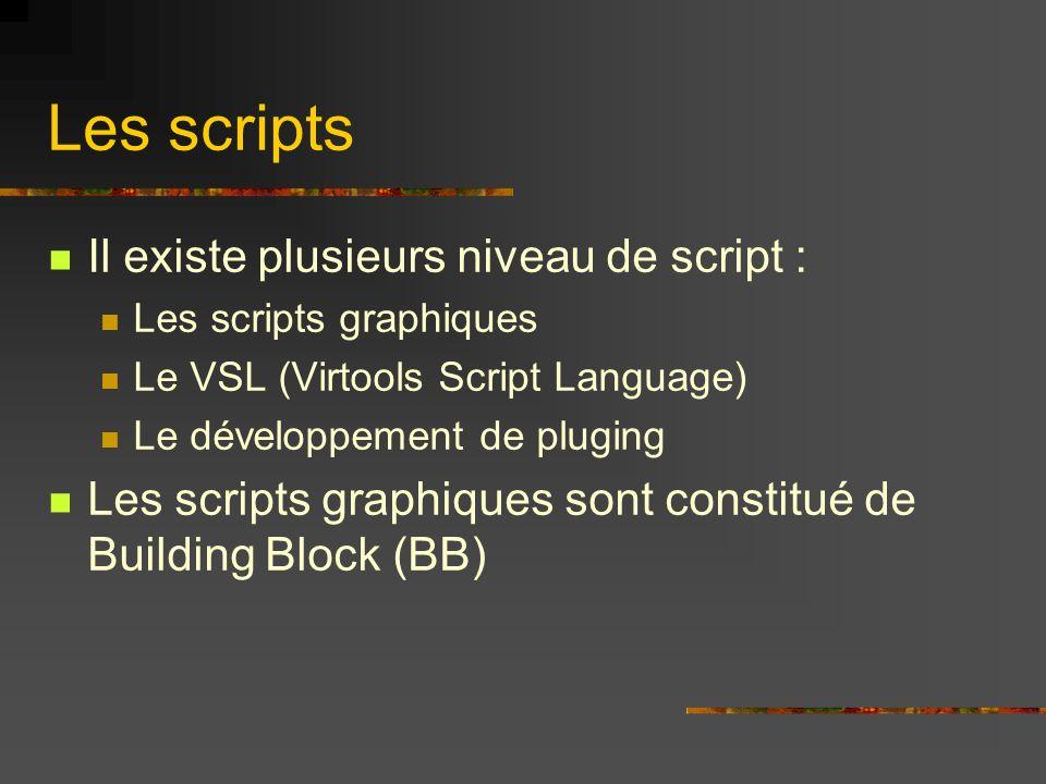 Les scripts Il existe plusieurs niveau de script : Les scripts graphiques Le VSL (Virtools Script Language) Le développement de pluging Les scripts gr